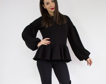 Oversize sweater/ Luxury sweater/ Peplum top/ Black jumper/ Balloon sleeve top/ Black pullover/ Long sleeve top/ Black sweater/ Formal top