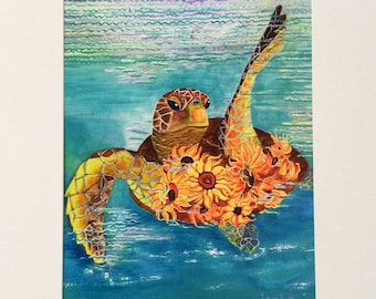 Sea turtle with sunflowers giclee print matted - of original acrylic painting