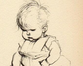 Vintage Antique 1930 Drawing of Children Baby, Babies Illustration babies book art print  58