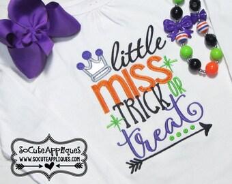 Little Miss Trick or Treat - Halloween Applique Shirt - Girl's Halloween Shirt - Holiday Designs - Monogrammed Shirt