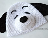 5 to pre teen- Dog Hat-Crochet dog hat-Made to order-Newborn to adult-Snoopy