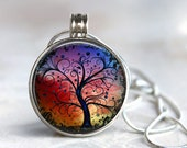 ArtClix Magnetic Interchangeable Pendant with Fall Trees Charm - Snaps In and Out - Interchangeable