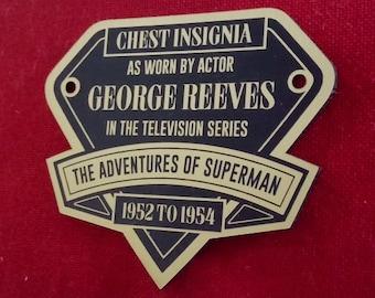 Custom GEORGE REEVES Adventures Of SUPERMAN Black & White Chest Iinsignia Display Placard