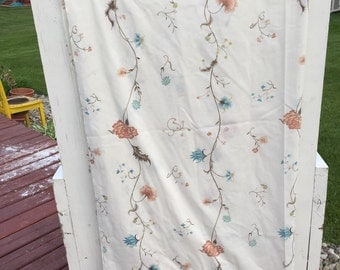 Vintage, sheet, full, flat, floral, flowers, bedding, linens, fabric, vintage floral, pink, blue, yellow, maroon, flowers,
