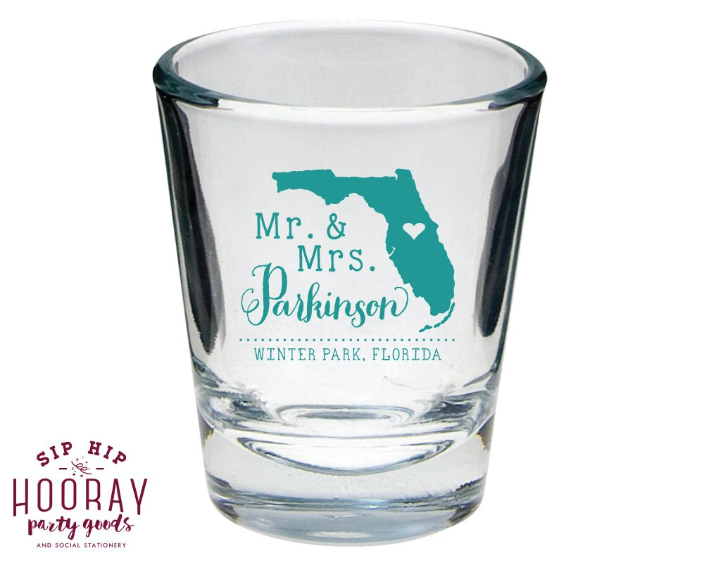 shot glasses wedding favors state wedding gifts