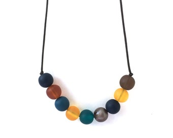 Nursing Necklace - Babywearing Necklace - Boules - Autumn Autumnal, Fall Fashion - Navy, Brown, Mustard, Teal, Rust