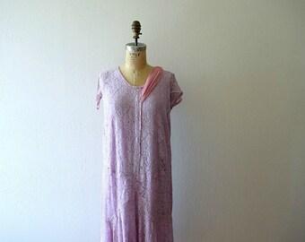 1920s lace dress . vintage 20s purple dress