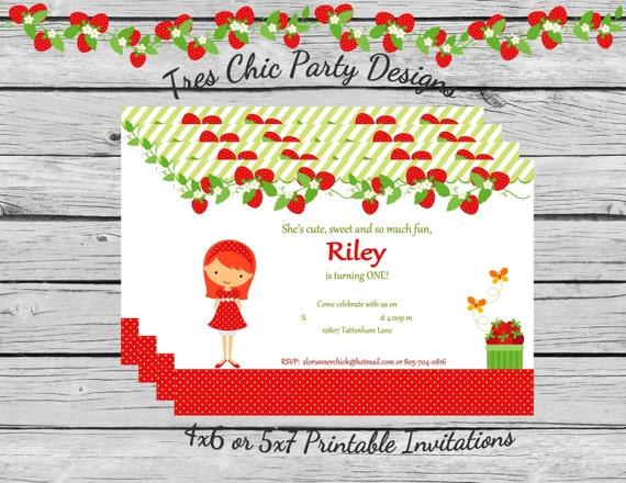 Strawberry birthday invitations strawberry cupcake inspired invitations strawberry printable invitation strawberry invitations strawberry