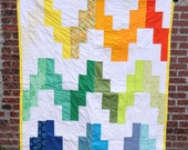 Bright modern baby quilt, gender neutral baby quilt
