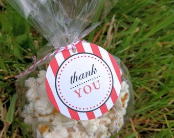 Custom Printable Striped Thank You Favor Tag - 2 inch Round Party Tags - Red, White, Black