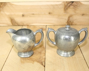 Vintage Pewter Cream and Sugar Set - Cream and Sugar - Vintage Cream and Sugar - Coffer Lover - Poole Pewter