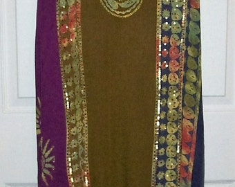 Vintage Ladies Beaded & Sequins Olive Boho Maxi Skirt by Soft Surroundings Medium Tall Only 20 USD