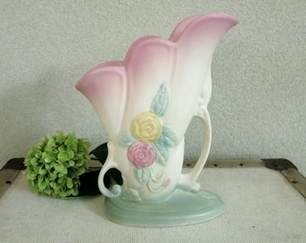 1940's Art Pottery Vase - Asymmetrical Hull Pottery Open Rose Vase with Pink and Yellow Roses - Botanical Nature Theme Country Chic Decor