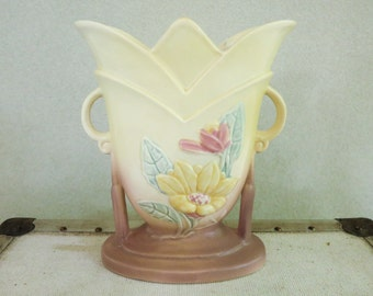 1940's Art Deco Vase with Columns - Hull Art Pottery - Magnolia Pattern - Nature Theme Country Chic Decor