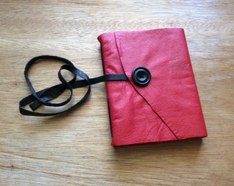 Red Leather Jouranal-Handmade-Notebook-Travel Journal-Gift Idea