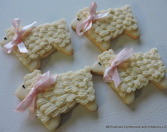 Adorable Lamb Cookies for Baby Showers, Baptisms and other events (#2443)