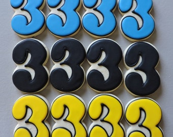 Number 3 Hand decorated sugar cookies for Birthdays (#2609)