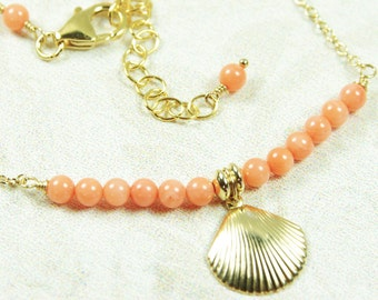 Peach Coral Necklace Sea Shell Pendant 14kt Gold Filled Beaded Bar 35th Anniversary Beach Wedding Bridal Bride Delicate Handmade Jewelry