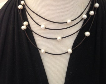 Orbit Freshwater Pearl and Leather Necklace