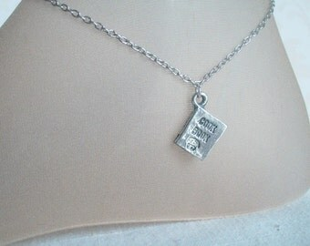 Tiny Cook Book Anklet, Silver Cook Book Charm, Kitchen, Chef, Culinary, Book Charm Anklet, Gift for Her,  Christmas Cook Book, Chef's Hat