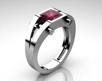 Modern 14K White Gold 1.25 Ct Princess Deep Red Ruby Ring R394-14KWGRR