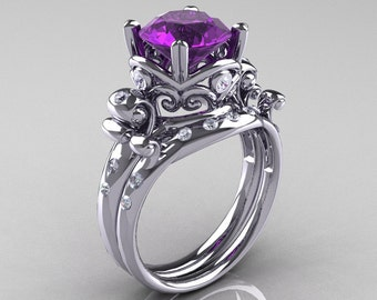 Art Masters Vintage 14K White Gold 3.0 Ct Amethyst Diamond Wedding Ring Set R167S-14KWGDAM