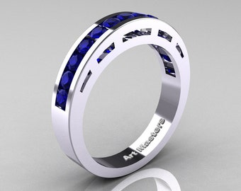 Modern 10K White Gold Blue Sapphire Wedding Band R94B-10KWGBS