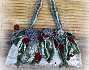 crochet  flowers   bag  elven,fairy ,romantic  style