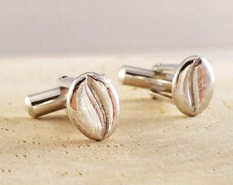 Coffee Beans Silver Cuff Links
