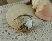 Victorian Gold Filled Watch Face - Antique Steampunk Watch Parts, Jewelry Supplies, Square Faced Gold Tone Watch, Steampunk Jewelry Part