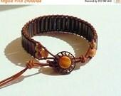 Clearance Sale Bronzite Stone and Leather Wrap Bracelet - Desert Sun Button Clasp - Unisex