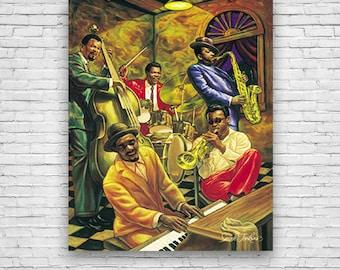 Cool Jazz, Jazz Music, by Sarah Jenkins, African American Art Print Poster