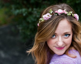 Pink Floral Crown, Flower crown. Woodland, mauve pink, fall, Weddings, Bridal Floral Crown, woodland wedding wreath