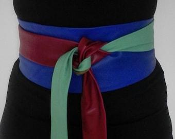 X- Long Genuine leather Patchwork Obi belt, bright colours, corset belt, waist cincher, wide waist belt, wrap on belt, waist ceinture.