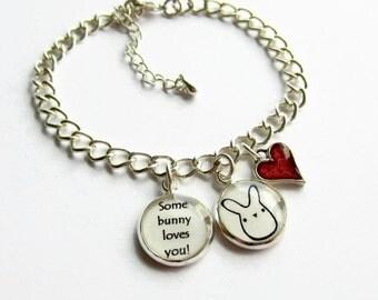 Rabbit Charm Bracelet, Bunny Bracelet, Some Bunny Loves You Quote Bracelet, Heart Bracelet, Girlfriend Gift, Choose Heart Colour