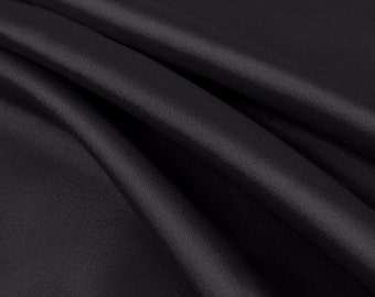 100% Polyester Non Stretch Charmeuse Fabric by the yard Black