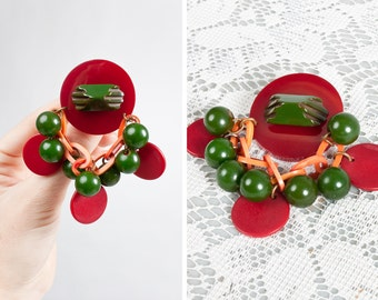 Vintage 1940s Bakelite and Celluloid Homemade Brooch