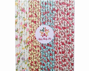 Free shipping paper straws floral paper straws anchor 19.7cm L 4 colors U pick 100pcs