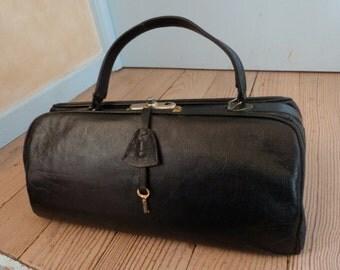Antique leather doctor bag suitcase luggage French travel bag case, train case traveling bag, traveler bag, steampunk bag, black leather
