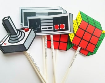 12 Totally Awesome 80s Cupcake Toppers, Rubik Cube favors, Atari Party, I love the 80s, 80s party, 80s party decorations, 80s birthday