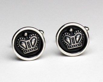 Crown Cuff Links, Silver Cuff Links, Crown Cufflinks, Anniversary Gifts For Men