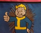 Fallout Vault Boy Pencil Bag, Hand Painted School Supplies, Video Game Pencil Bag