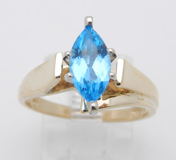 SALE Yellow Gold Blue Topaz Solitaire Engagement Promise Ring Size 6.5