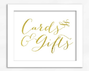 Cards and Gifts Print in Gold Foil Look - Faux Metallic Calligraphy Wedding Gift Table Sign for Reception or Shower (4002)