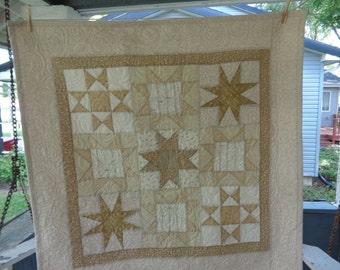 Vanilla Cream Stars Decor Quilt, Neutral Stars Quilt 0531-02