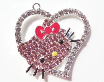 45mm, Darling Hello Kitty Inspired Rhinestone Heart Pendant, P62