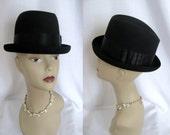 Vintage Fedora - Bourse Cellini Men's Black Felt & Silk Hipster Hat NOS