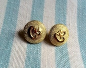 Handmade Vintage Button Earrings. Gold Plated. 15mm Diameter.
