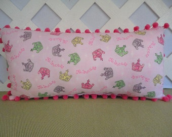 Princess Crowns Pillow in Pink / Princess Pillow / Little Girls Pillow / Pink Pillow / Crowns Pillow /Girls Room Decor / Nap Pillow