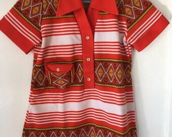 Vintage 70s Tunic Tribal print Dress  Children's size